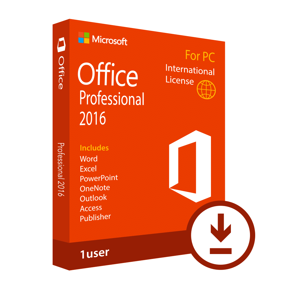 Microsoft Office 2016 >> Microsoft Office 2016 Professional Alp Global License For 1 Pc